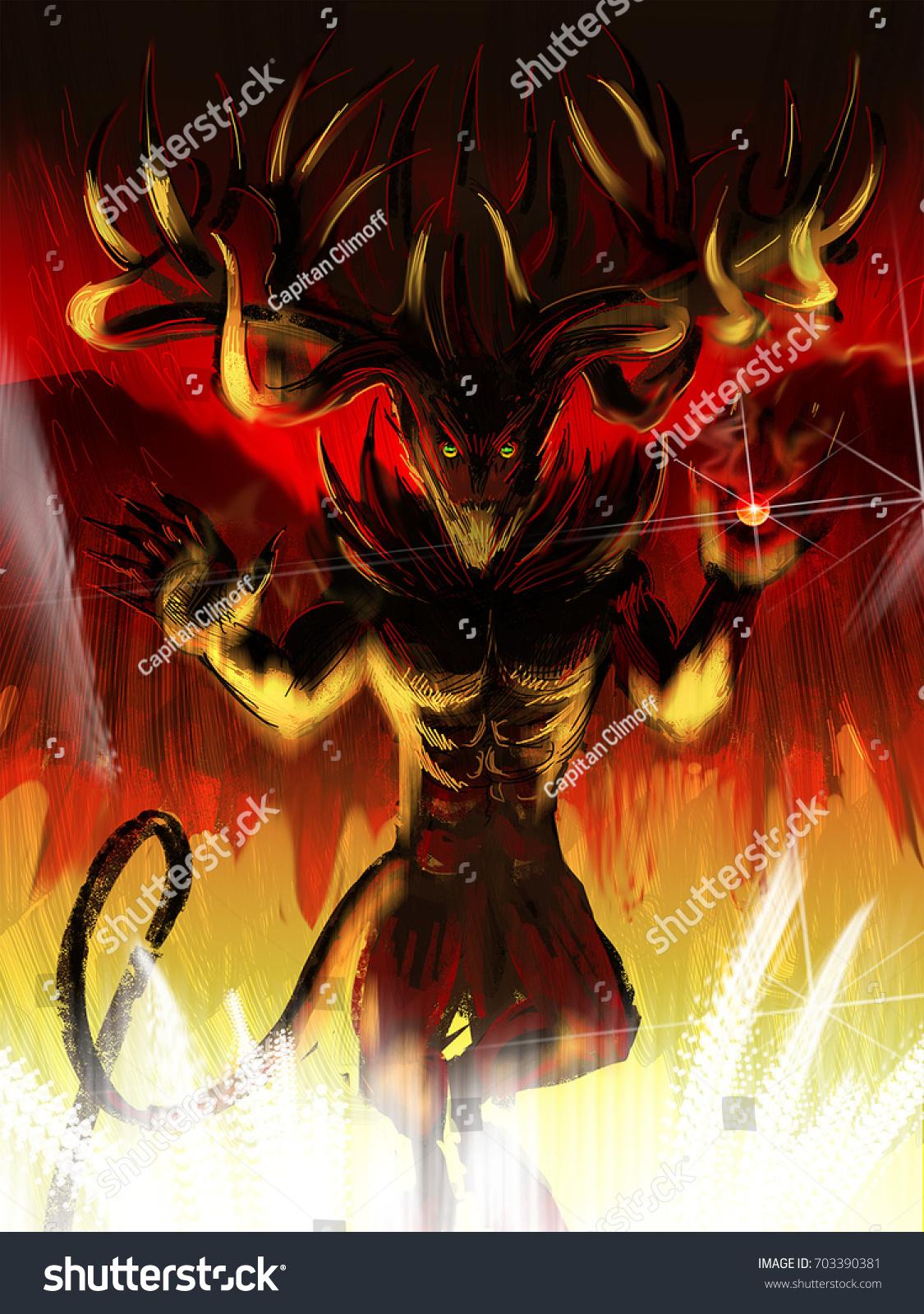 Demon hell poster background fire rock stock illustration 703390381 demon in hell poster background fire rock death metal mystique voltagebd Images