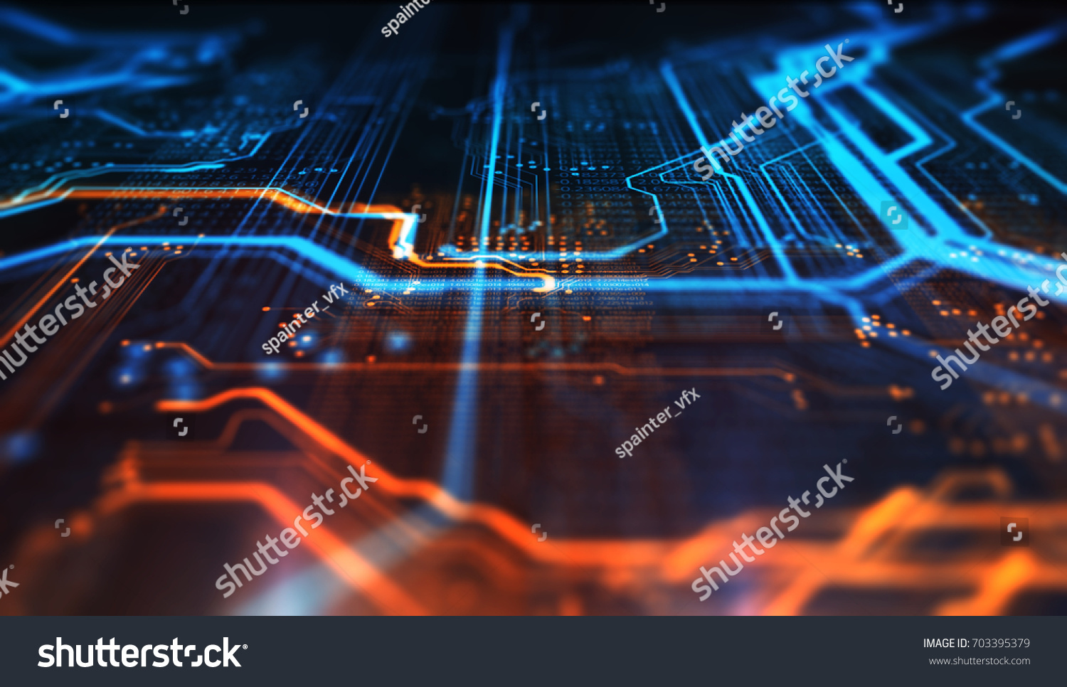 Orange Blue Technology Background Circuit Board Stock Illustration And Binary Code Vector Clipart Transmission Of 3d
