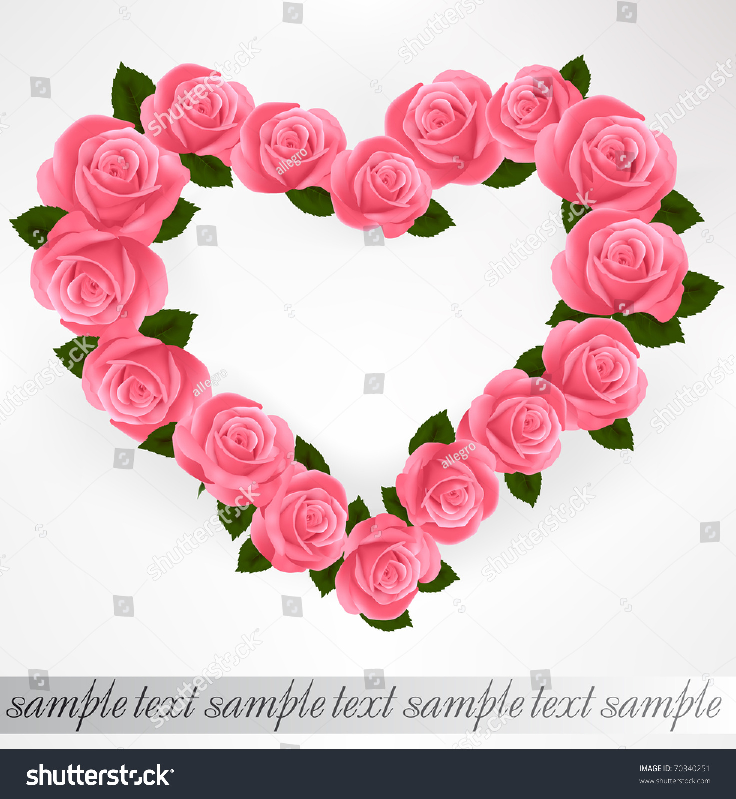 Pink Roses Heart Shape. Vector Illustration. - 70340251 : Shutterstock Pink Roses And Hearts