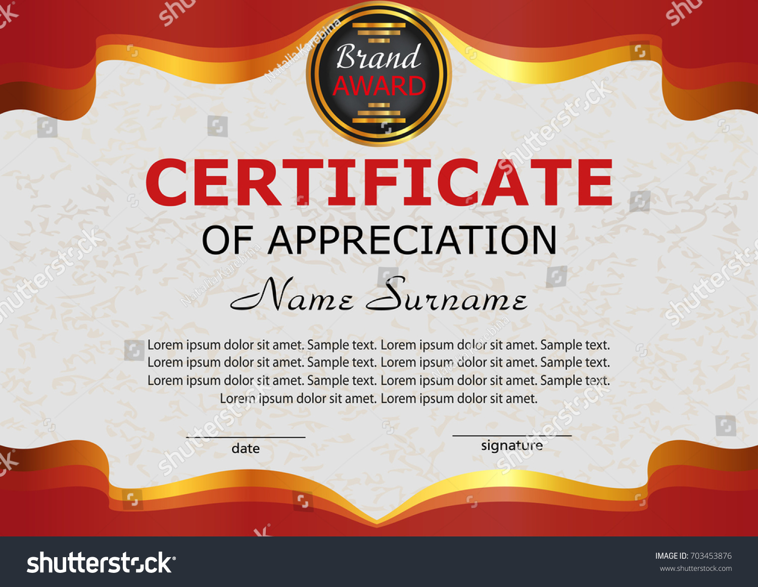 Certificate of appreciation sample wording examples of executive teacher appreciation certificates bio example business email stock vector certificate appreciation elegant red template reward winning yadclub Images