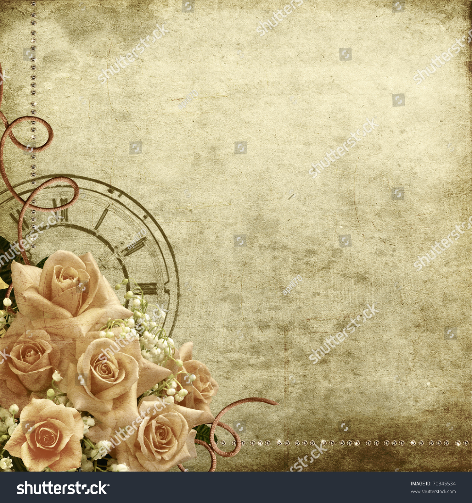 Wedding Vintage Romantic Background Roses Clock Stock