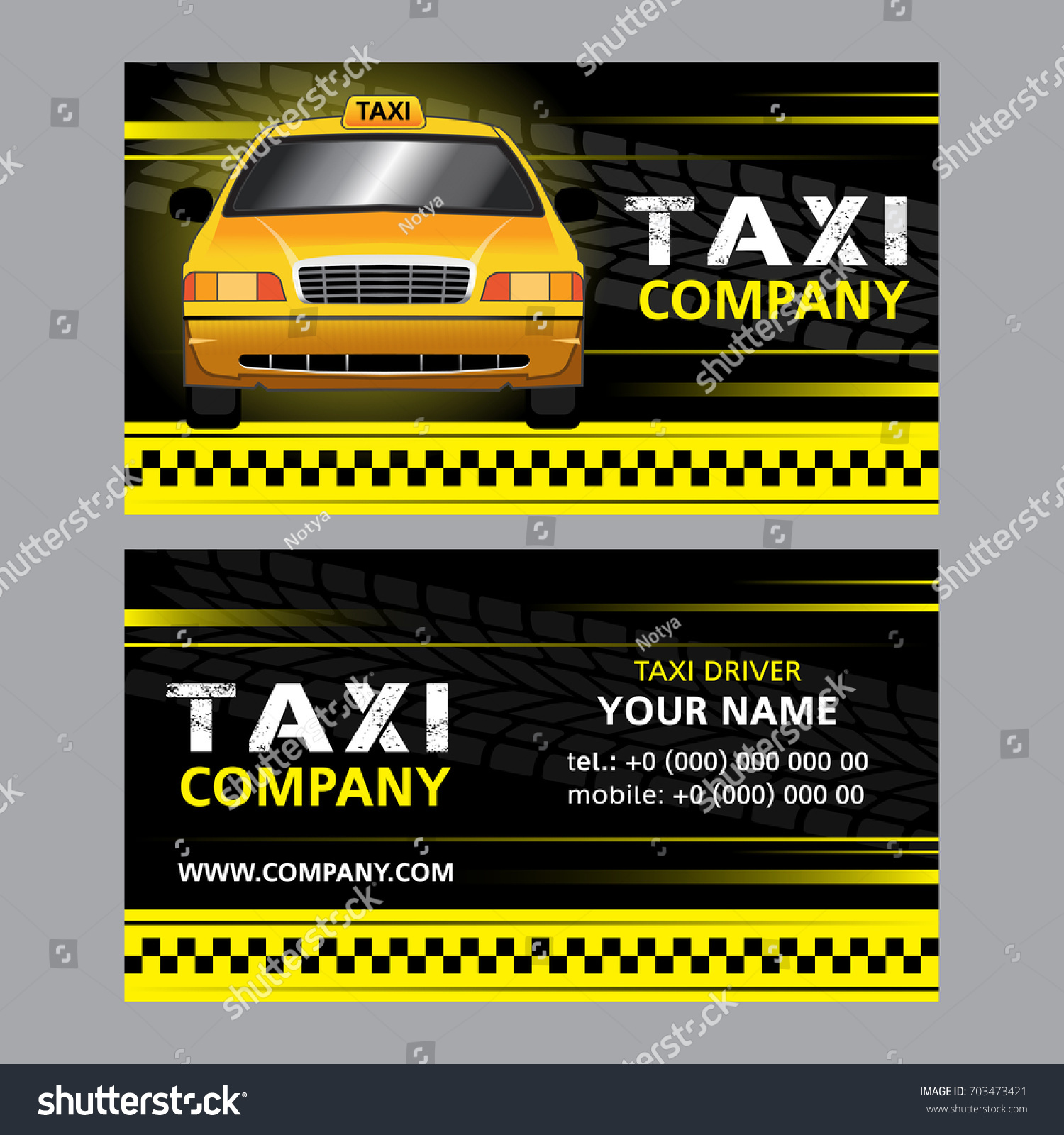 Taxi Business Card Yellow Taxi Cab Stock Photo (Photo, Vector ...