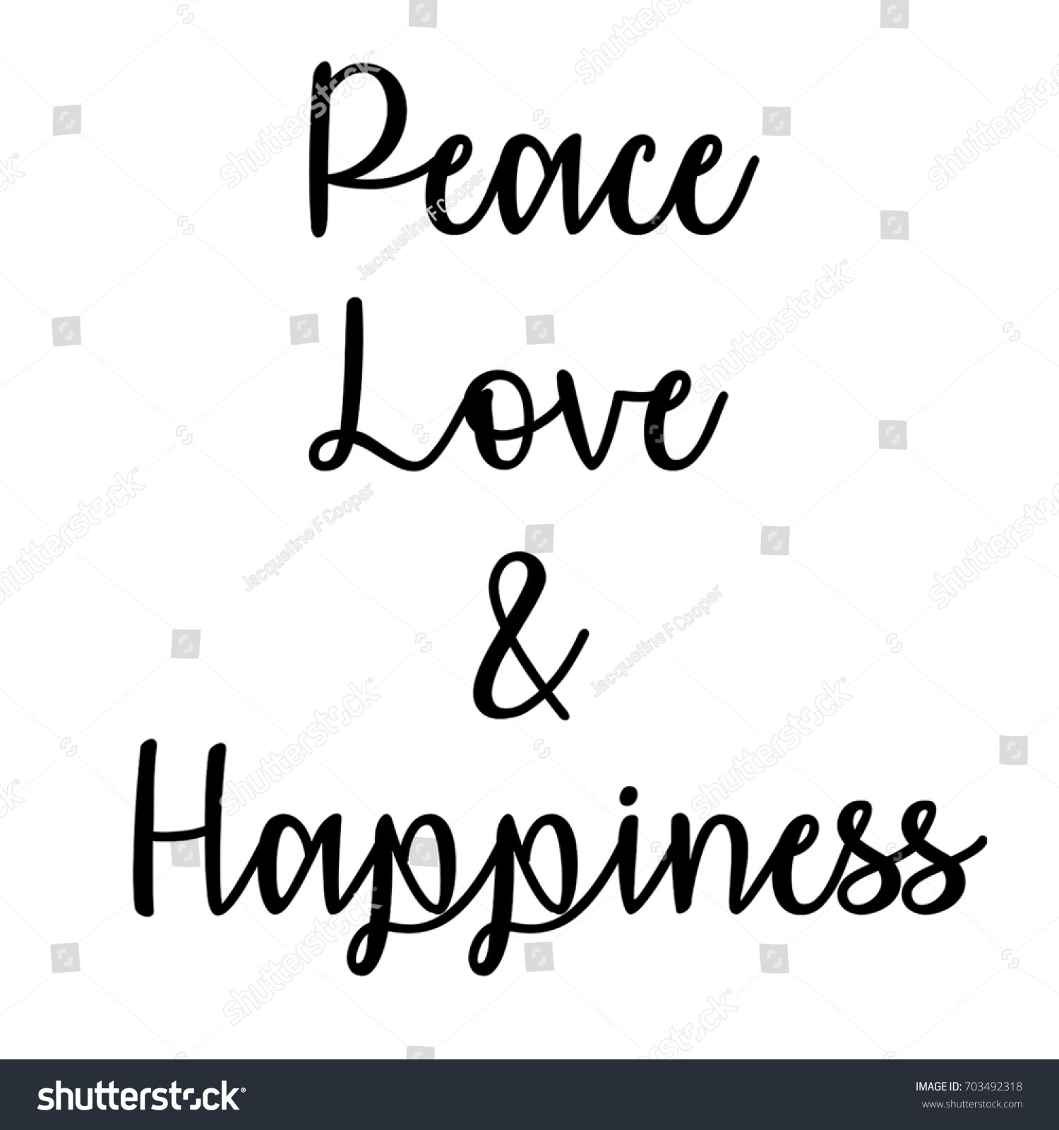 Quote About Peace And Love Inspirational Mindful Quote Peace Love Happiness  Stock