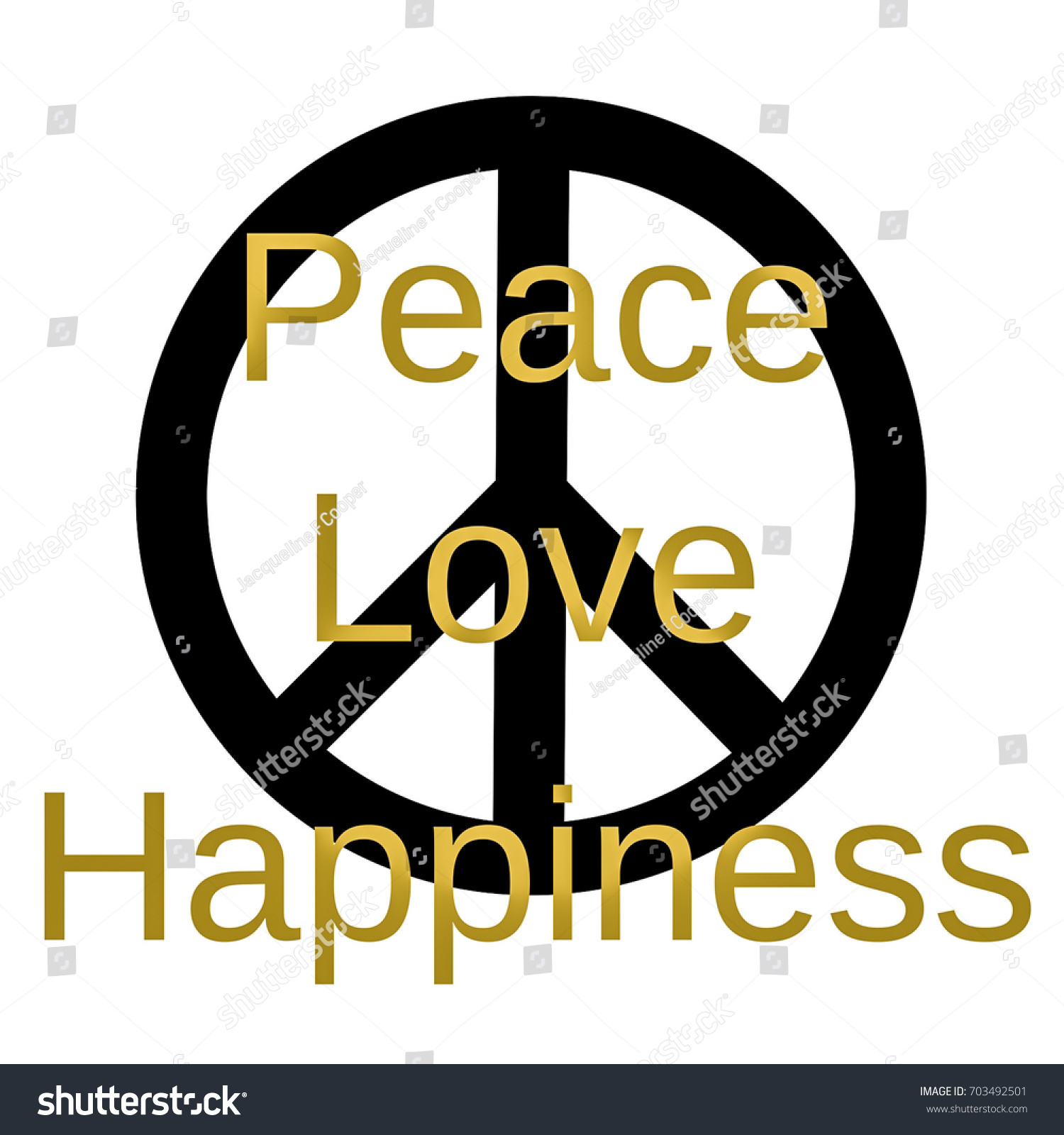Inspirational Mindful Quote Peace Love Happiness Stock Illustration