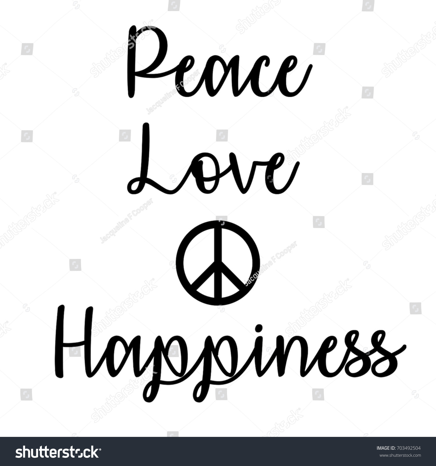 Inspirational Mindful Quote Peace Love Happiness Stock ...