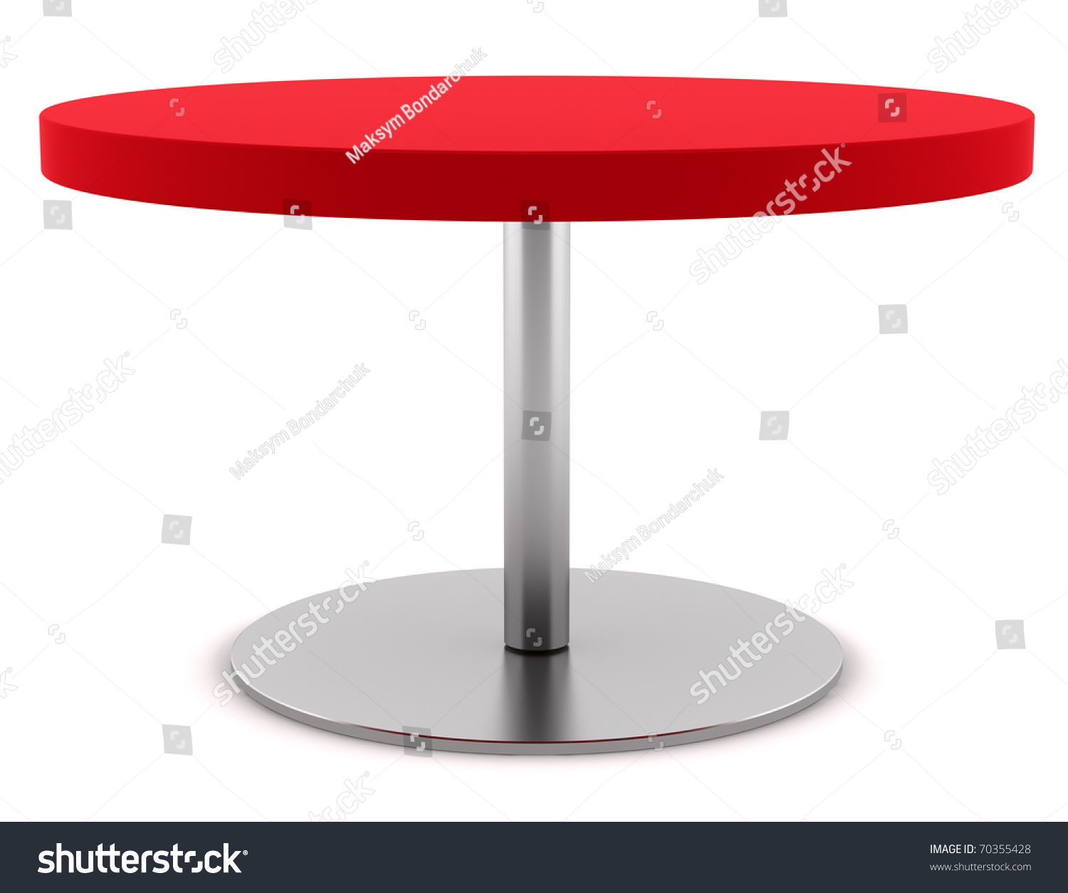 Modern Red Round Table Isolated On White Background