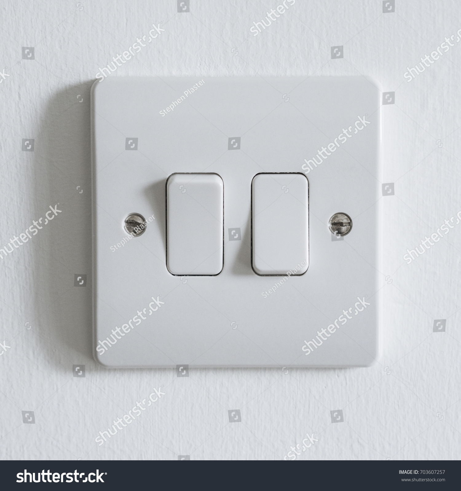Generic White UK Light Switch Two Stock Photo (Edit Now) 703607257 ...