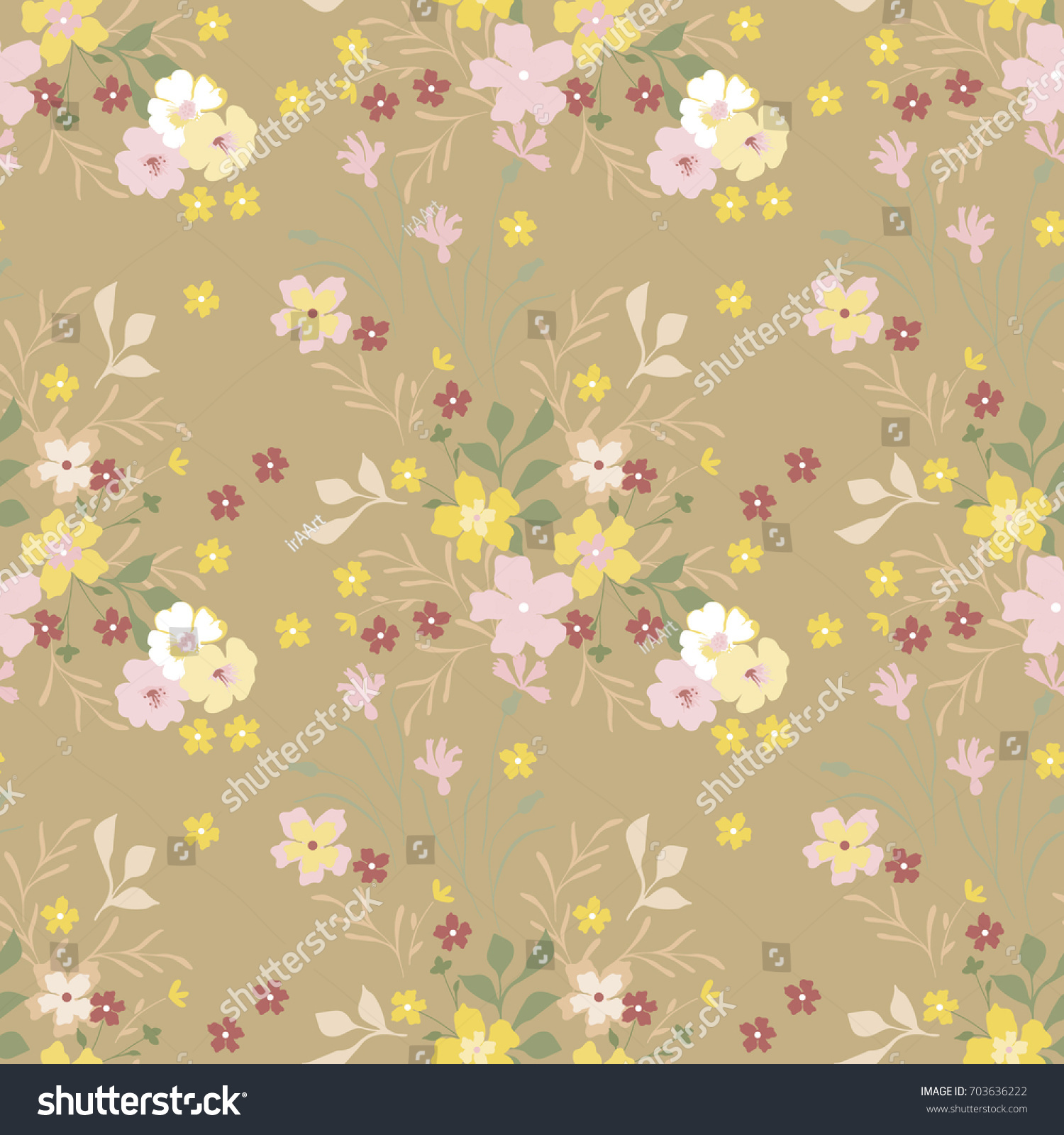 Vintage Floral Pattern Cute Small Flowers For Design Fabric Paper