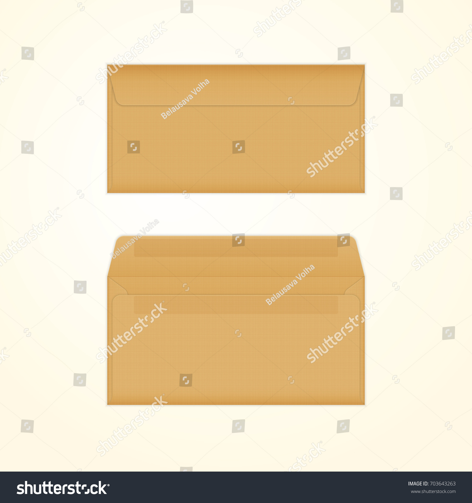 opened closed brown envelopes isolated mockup stock illustration