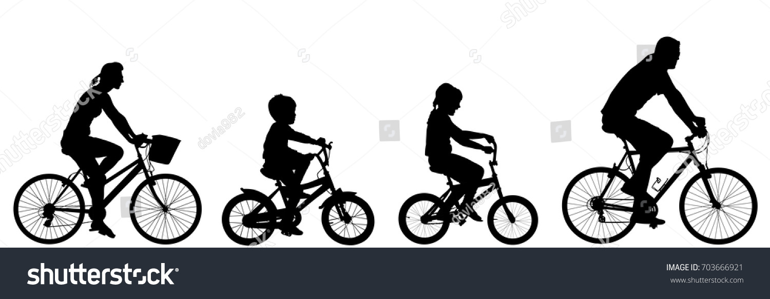 Happy Family Riding Bicycle Together Vector Stock Vector ...