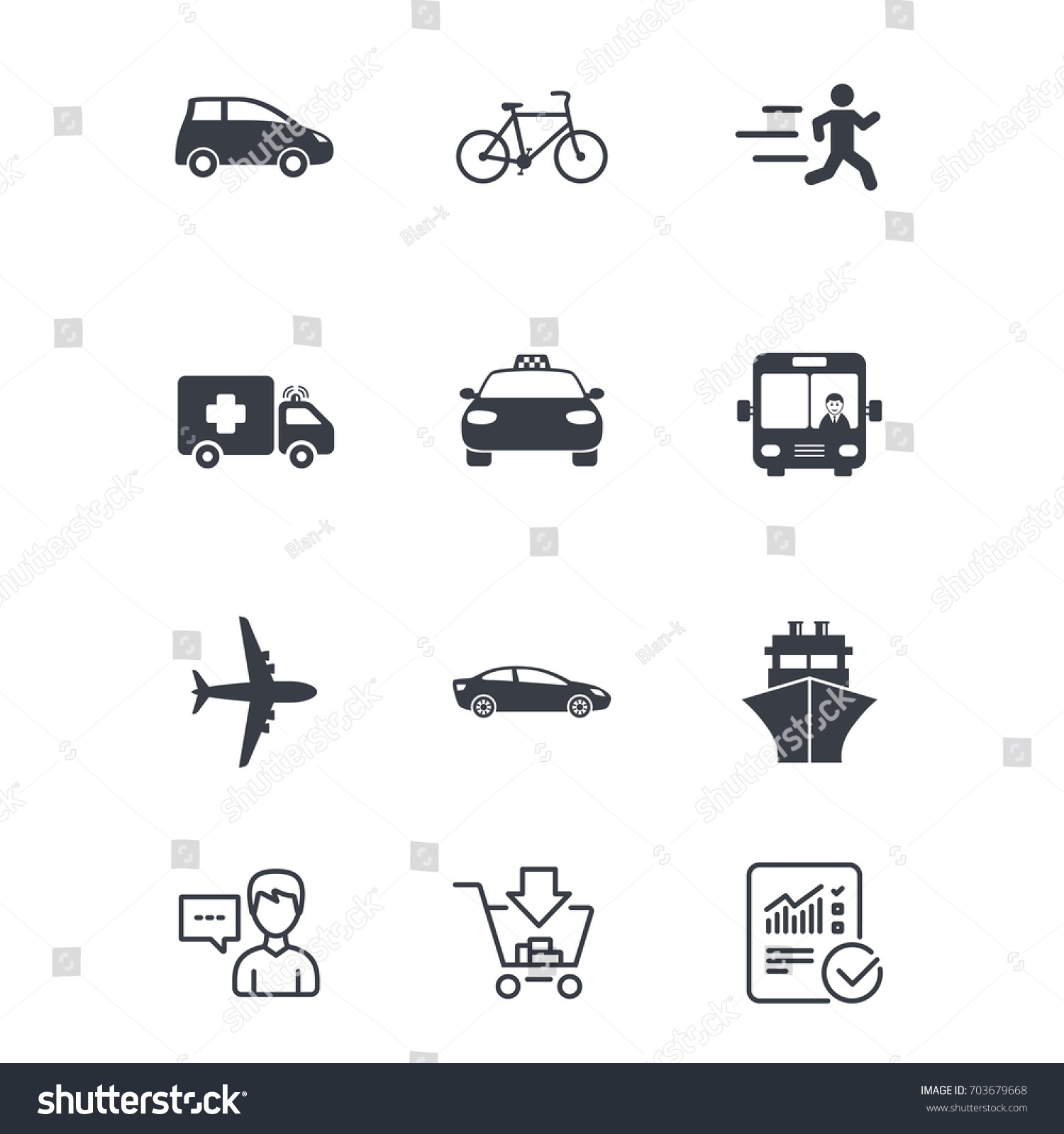 Transport Icons Car Bike Bus Taxi Stock Vector - Car signs and symbols