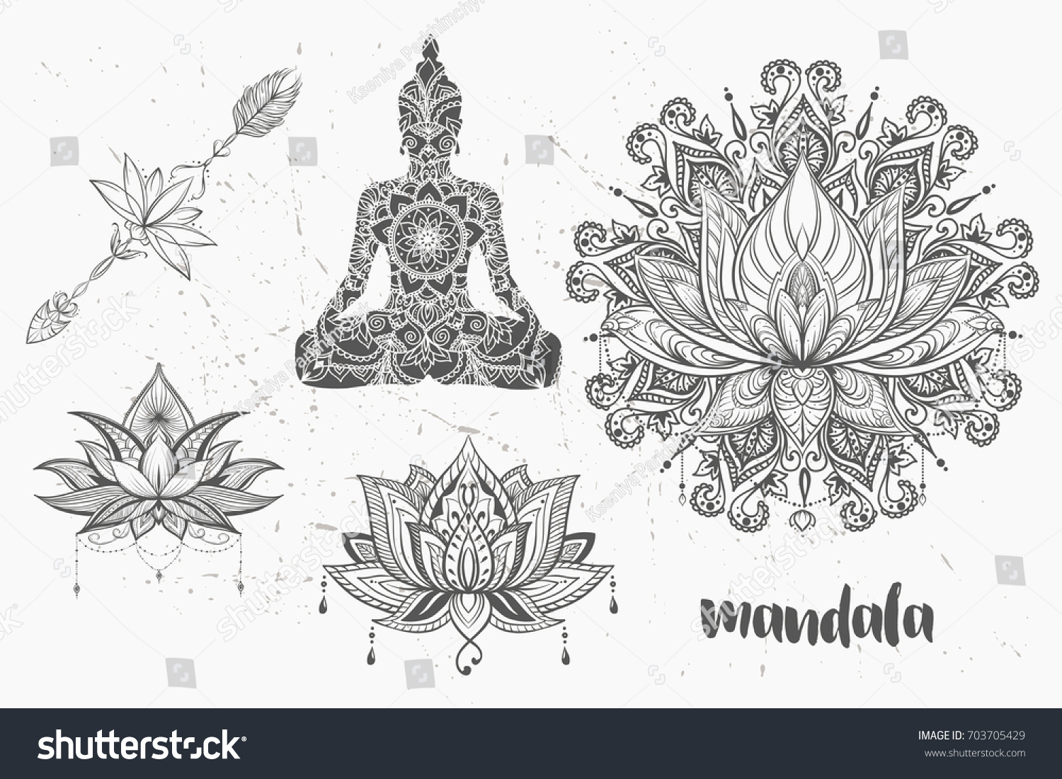 Mandala Set Other Elements Vector Mandala Stock Vector Royalty Free