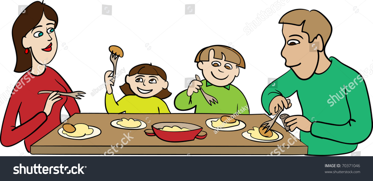 Family Dinner Stock Vector 70371046 - Shutterstock