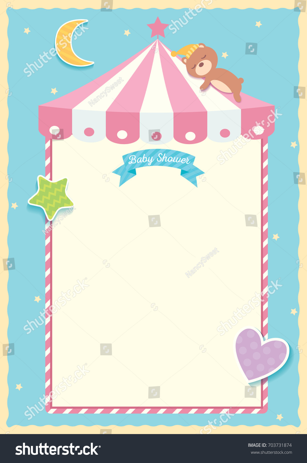 Illustration Vector Of Baby Shower Template Design With Bear Sleeping On  Roof Tent Moon, Star