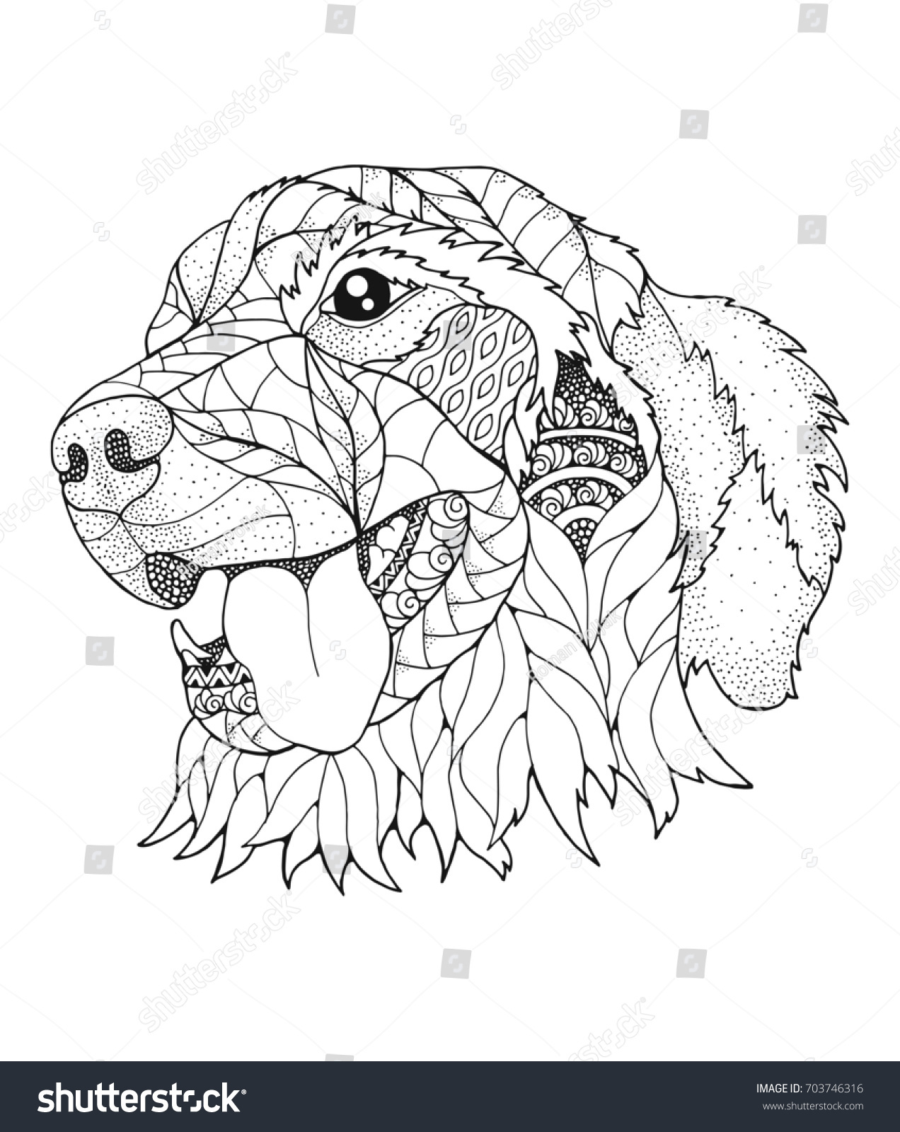 Golden Retriever Dog In Zentangle And Stipple Style Vector Illustration Anti Stress Coloring Book