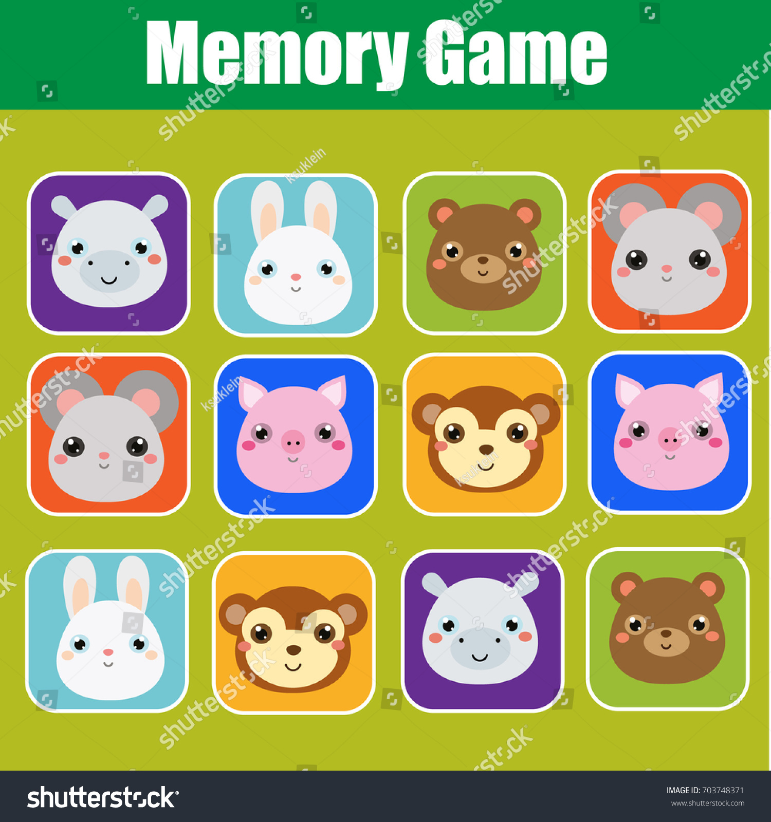 Memory Game Toddlers Educational Children Kids Stock Vector