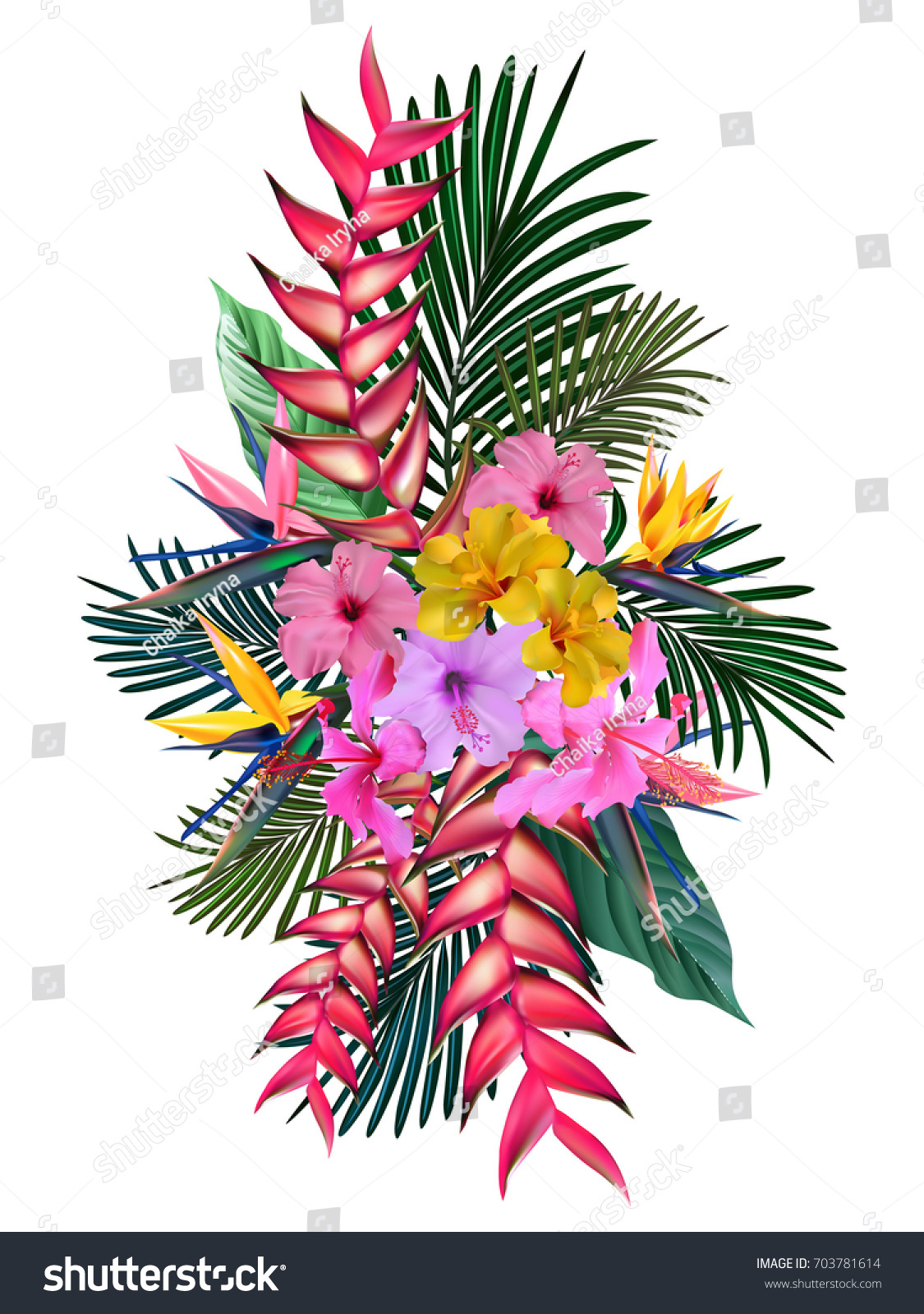 Tropical flowers palm leaves jungle plants stock vector hd royalty tropical flowers palm leaves jungle plants hibiscus hawaiian bouquet beautiful floral izmirmasajfo
