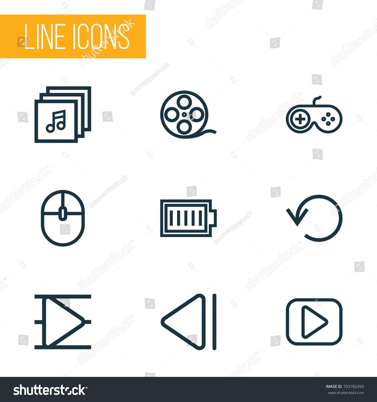 Music Outline Icons Set Collection Music Stock Vector 703782493