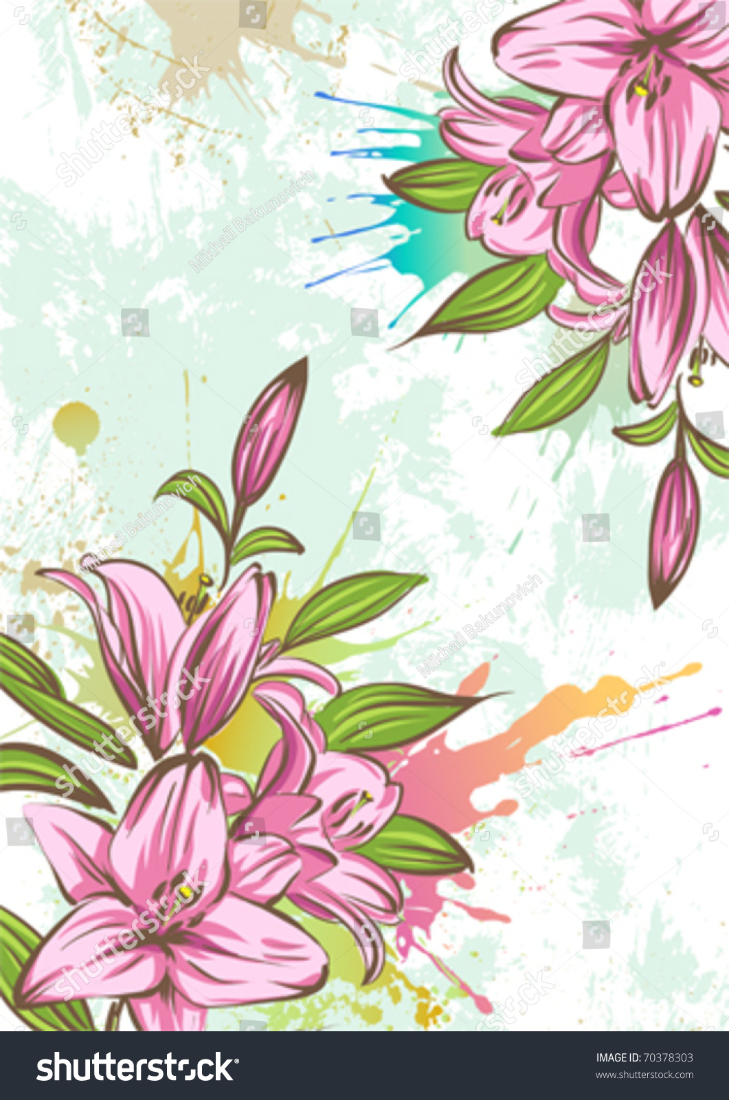 Stylized Lily On A Grunge Background Stock Vector ...