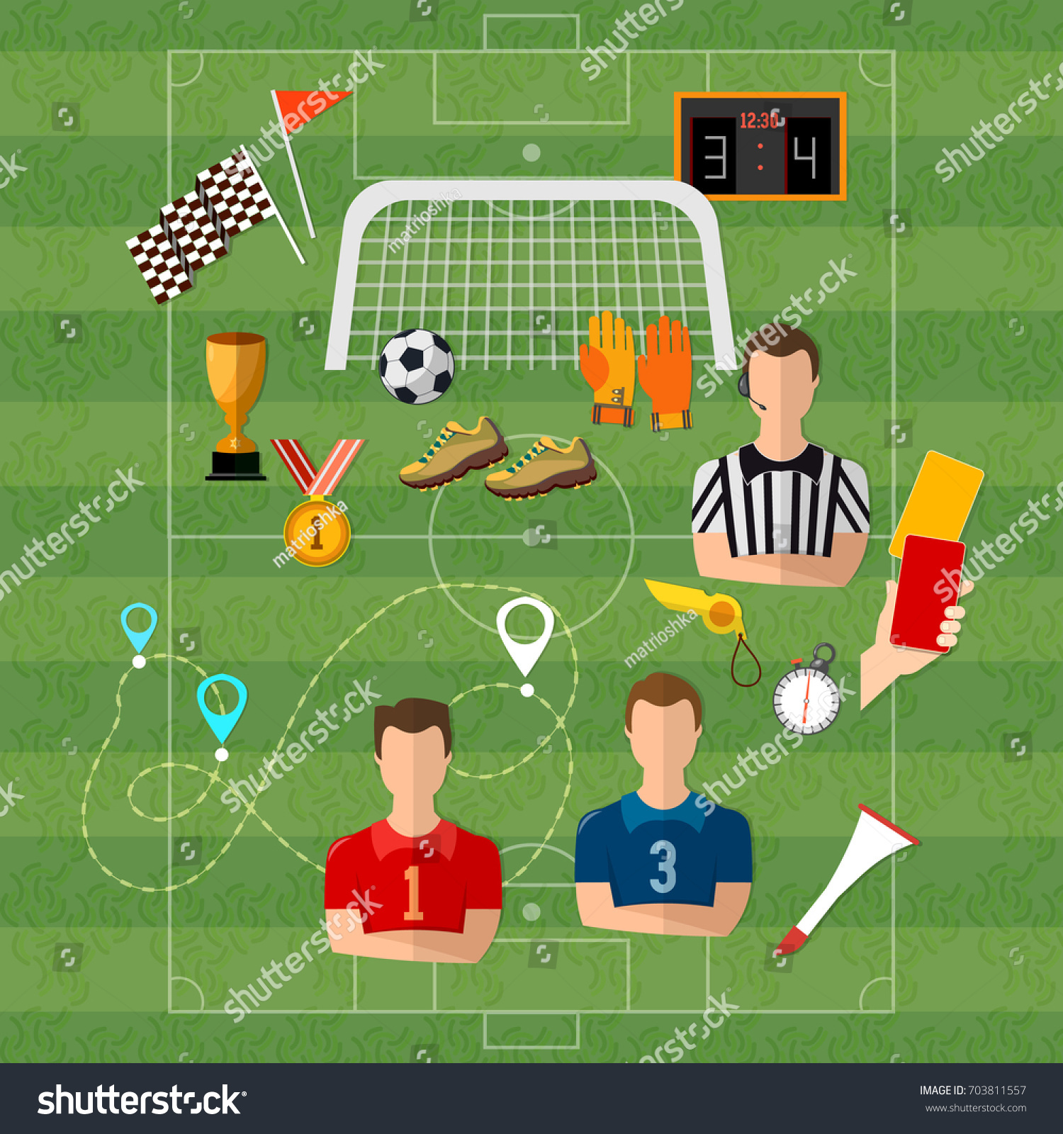 Soccer football team signs symbols elements stock vector 703811557 soccer football team signs and symbols elements of professional soccer flat design biocorpaavc Choice Image