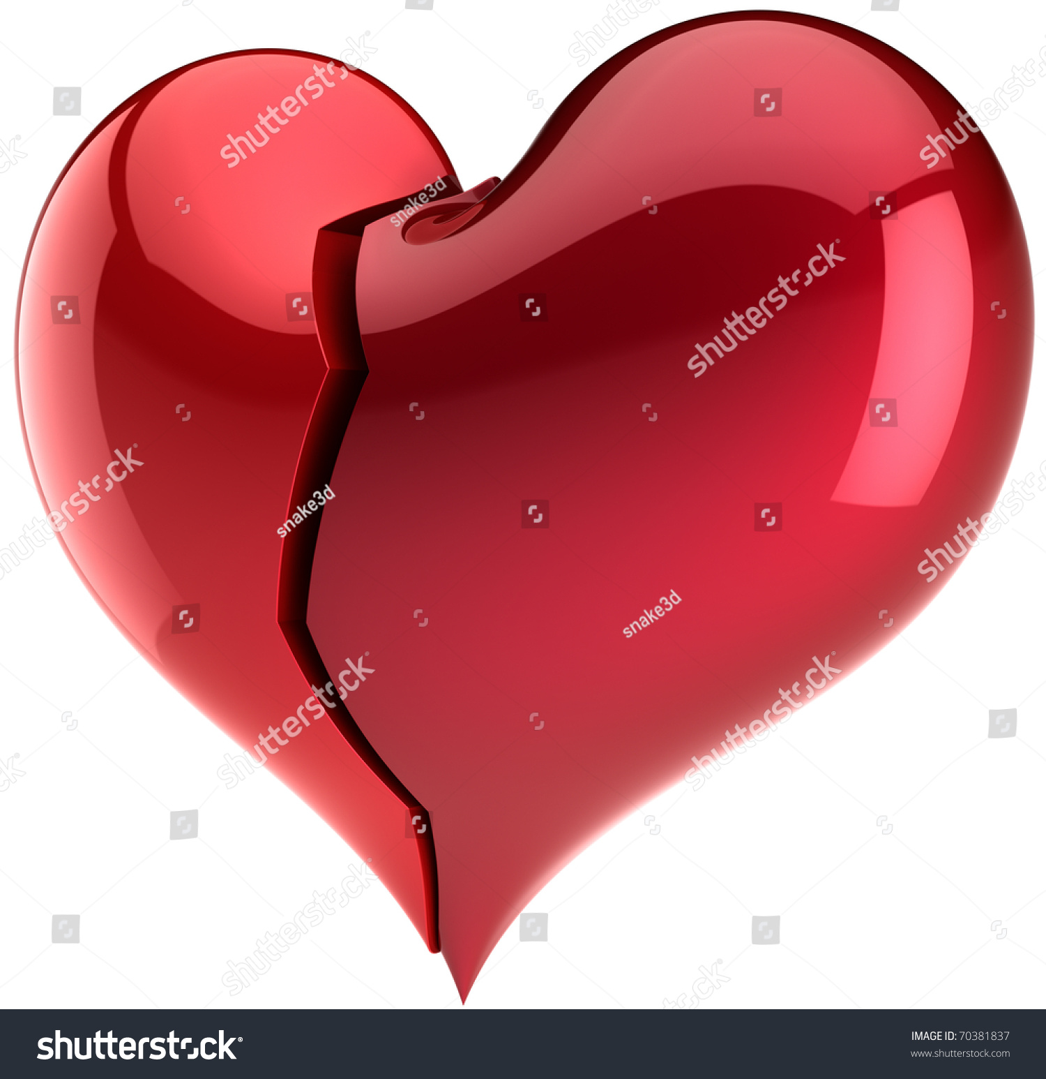 Heart Shape Broken Two Parts Piece Stock Illustration 70381837