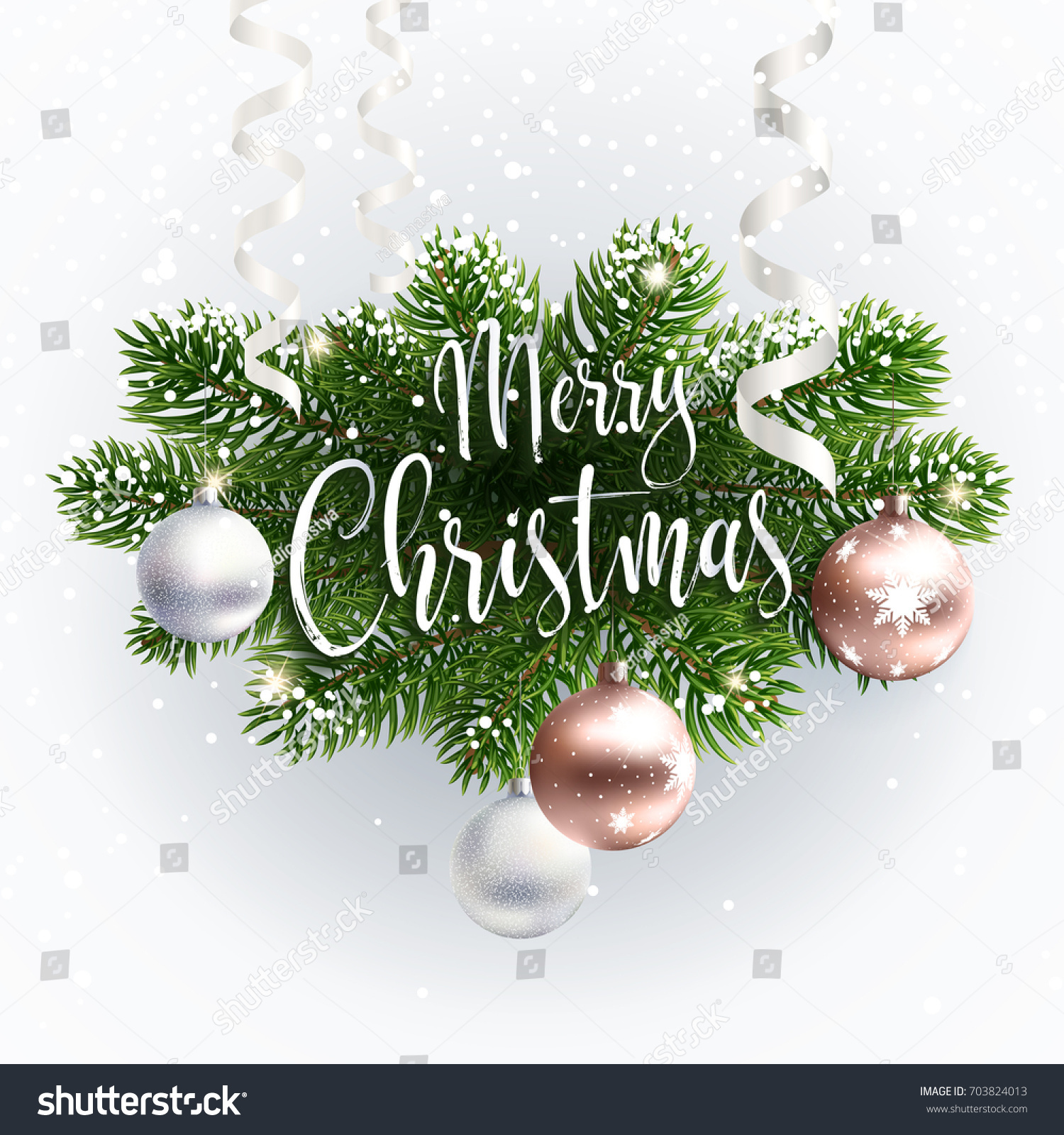 Merry Christmas Inscription Greeting White Festive Background With Typography And Tree Branches Balls