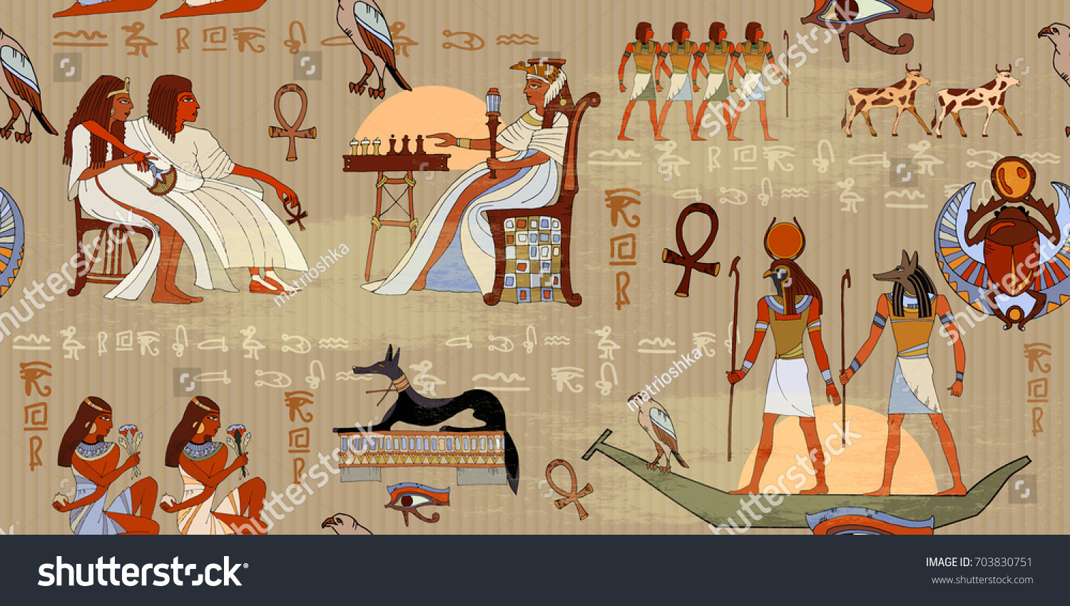 Egyptian Gods And Pharaohs Seamless Pattern. Murals Ancient Egypt Seamless  Pattern. Hieroglyphic Carvings On Part 35