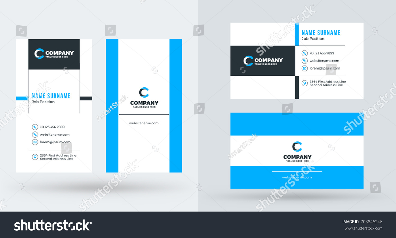 Doublesided creative business card template portrait stock vector double sided creative business card template portrait and landscape orientation horizontal and vertical magicingreecefo Image collections