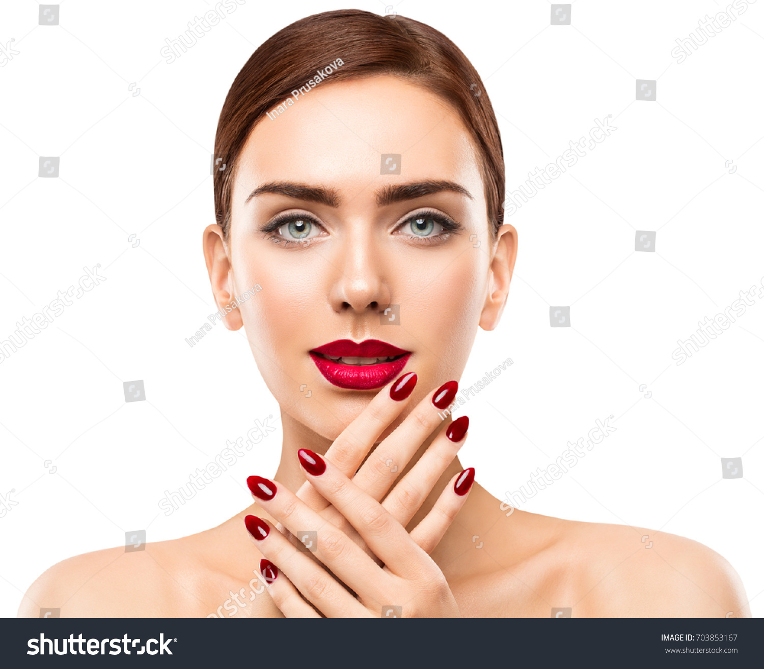 Portrait of young beautiful woman with stylish make-up and long ...