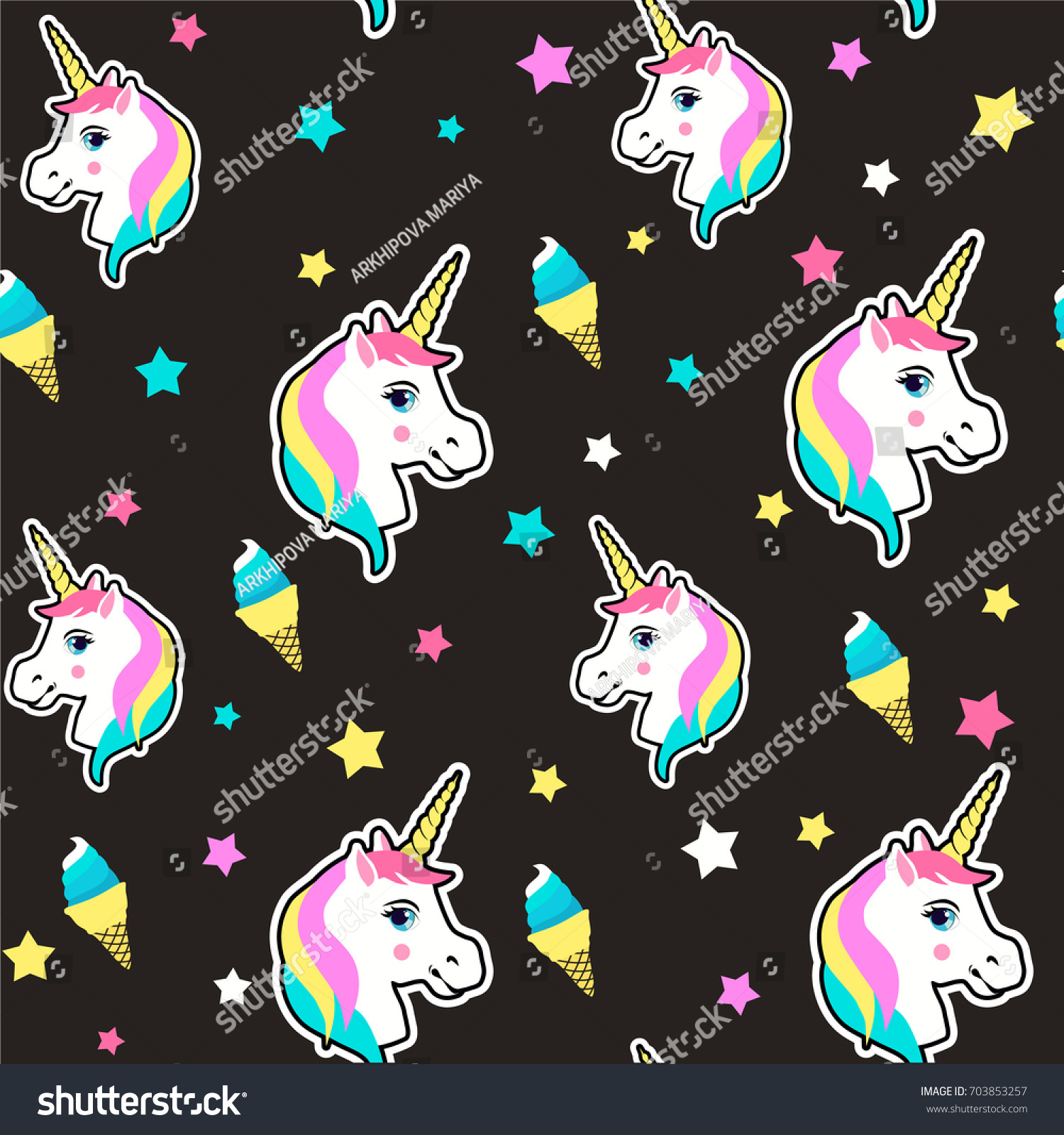 Cute Colorful Ice Cream Seamless Pattern Background: Colorful Cute Seamless Pattern Unicorn Star Stock Vector