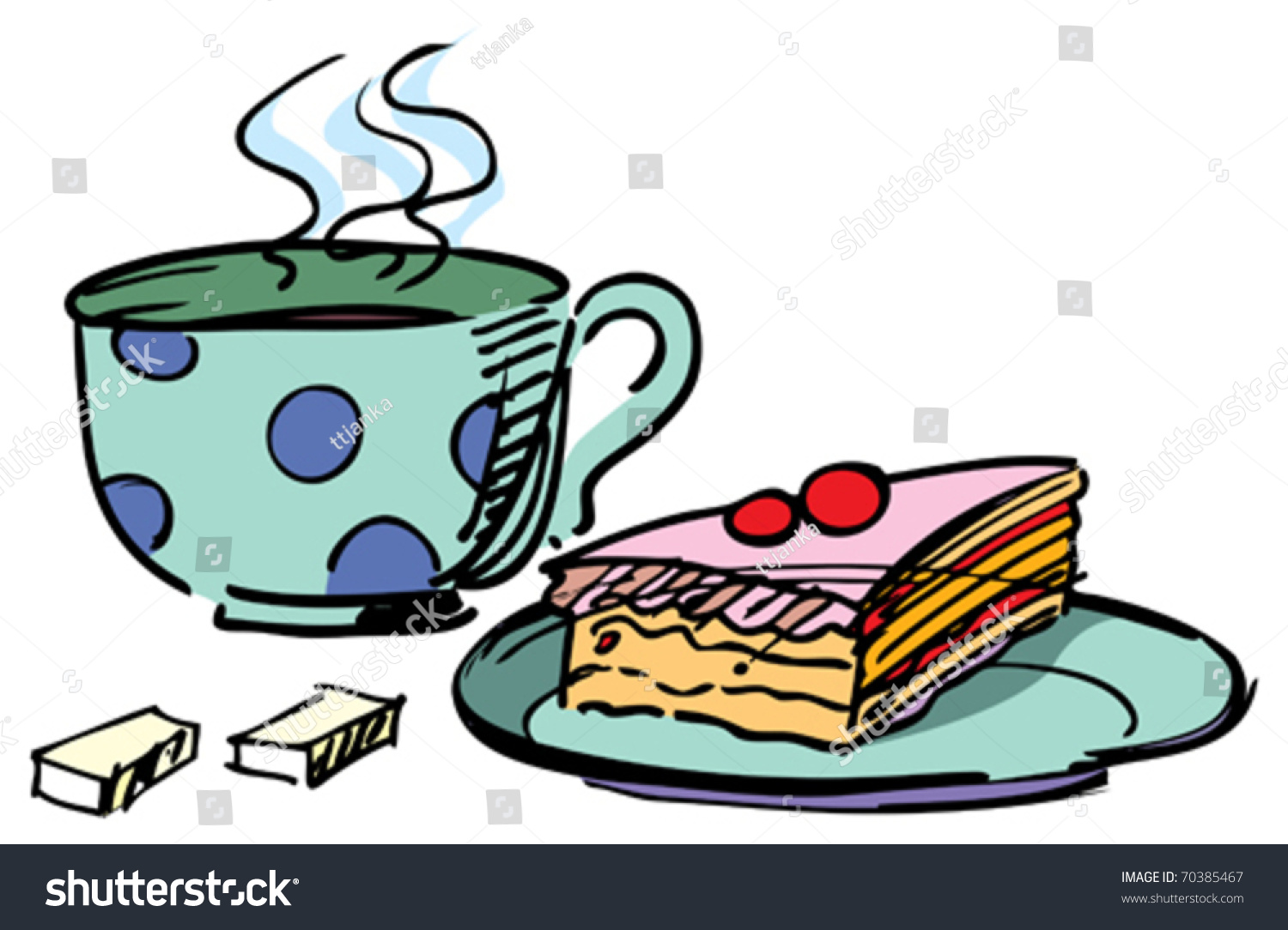 Cup Tea Cake On White Background Stock Vector 70385467 ...