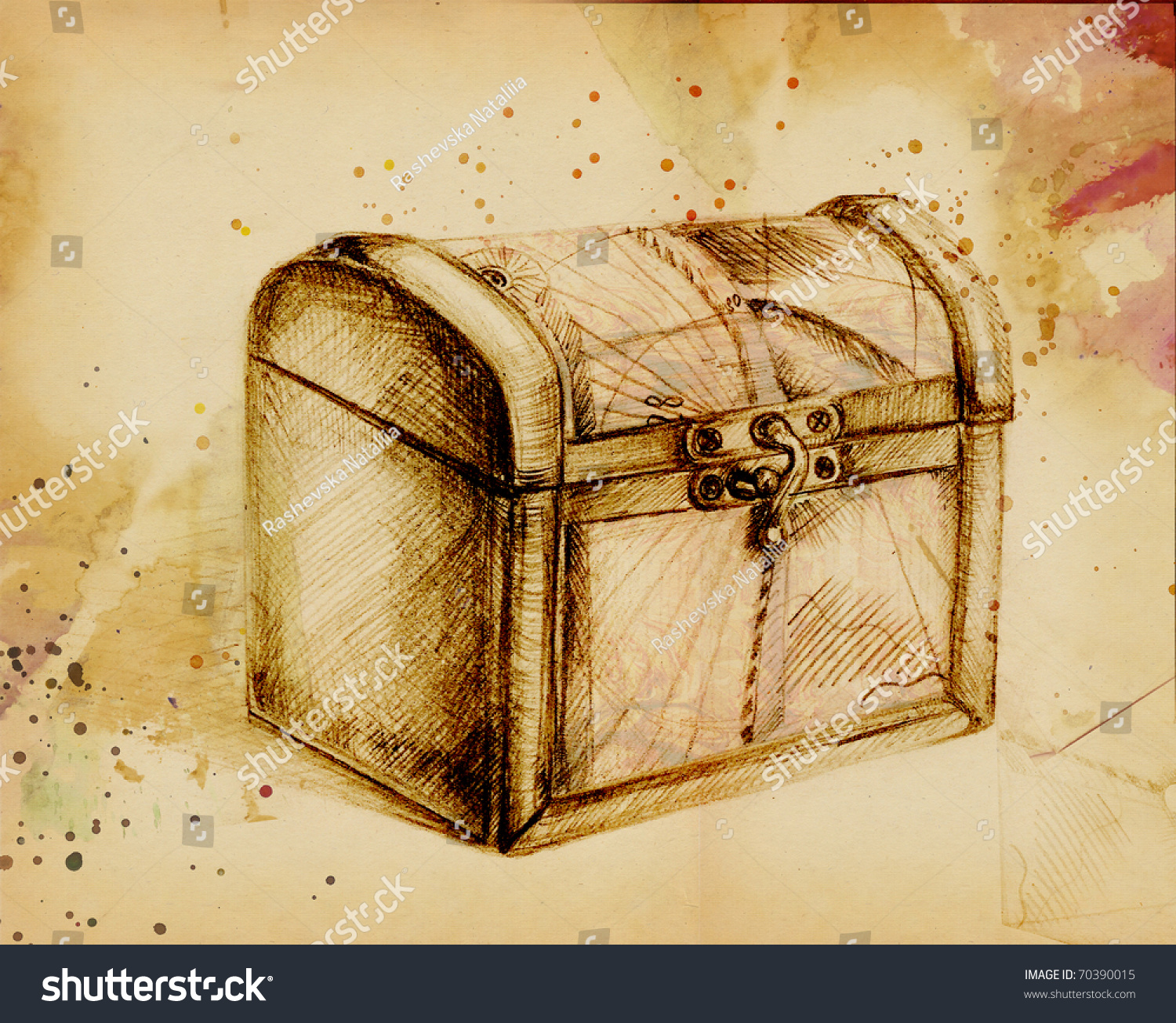 Closed Treasure Chest Pencil Stock Illustration 70390015 ...