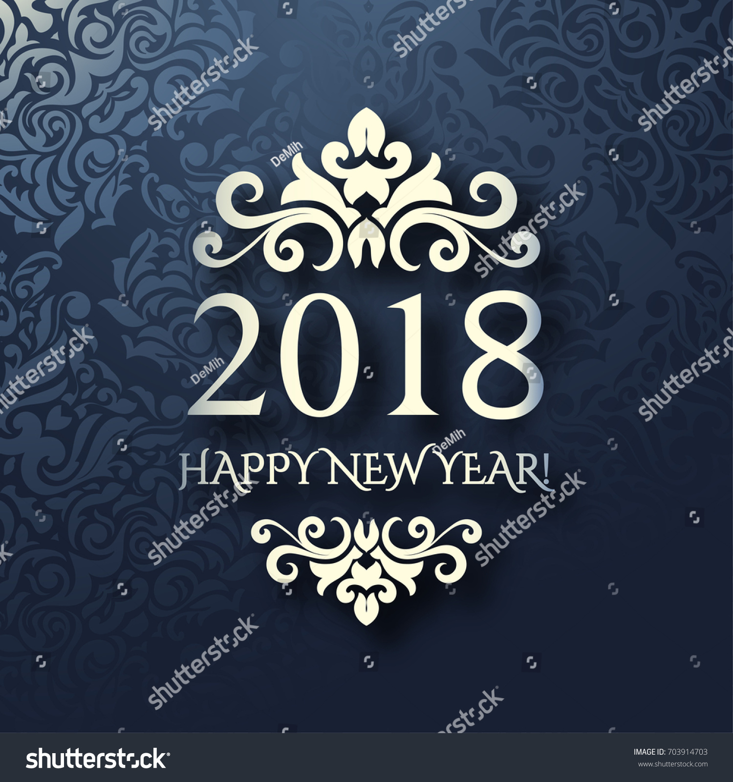 new year card with blue background and silver frame luxury design 2018