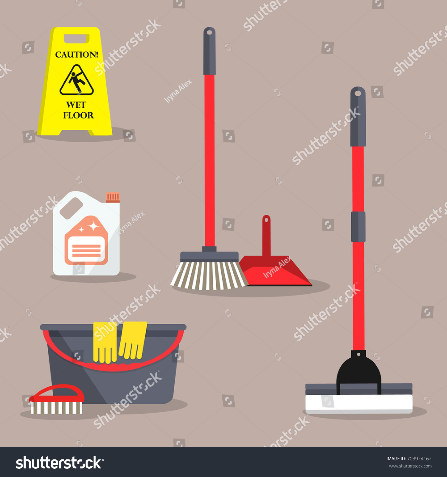 Cleaning Time Concept There Caution Wet Stock Vector Royalty Free