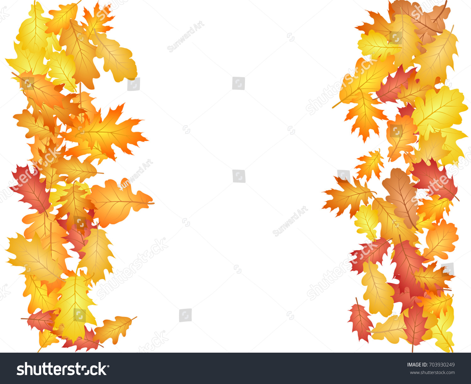 vertical borders oak leaf abstract background stock vector