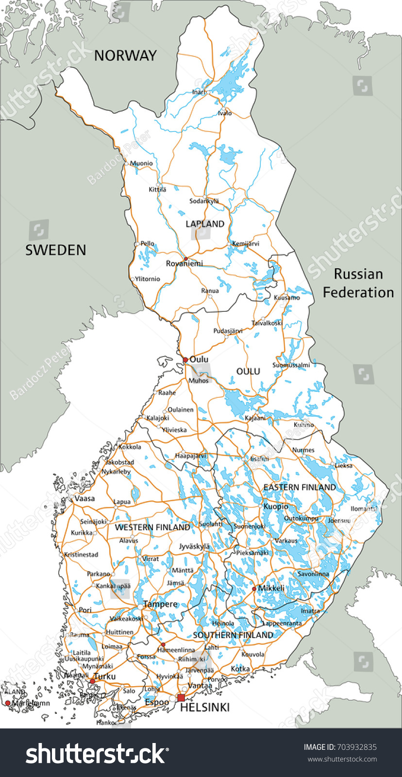 High Detailed Finland Road Map Labeling Stock Vector 703932835