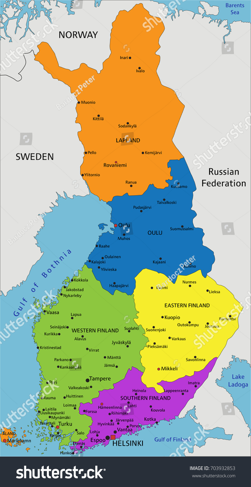 Colorful Finland Political Map Clearly Labeled Stock Vector