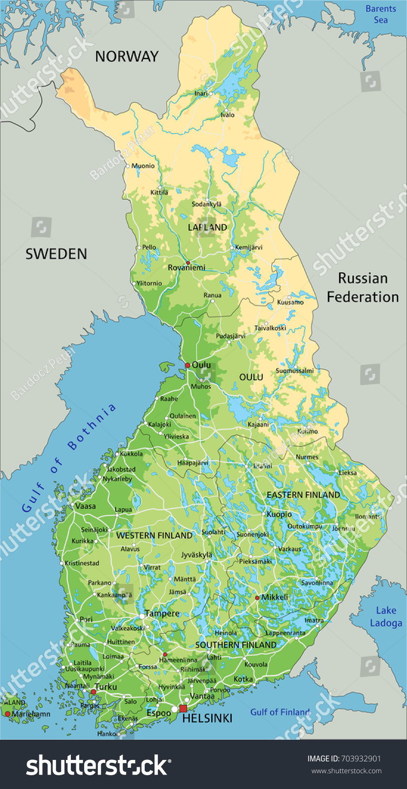 High Detailed Finland Physical Map Labeling Stock Vector HD Royalty