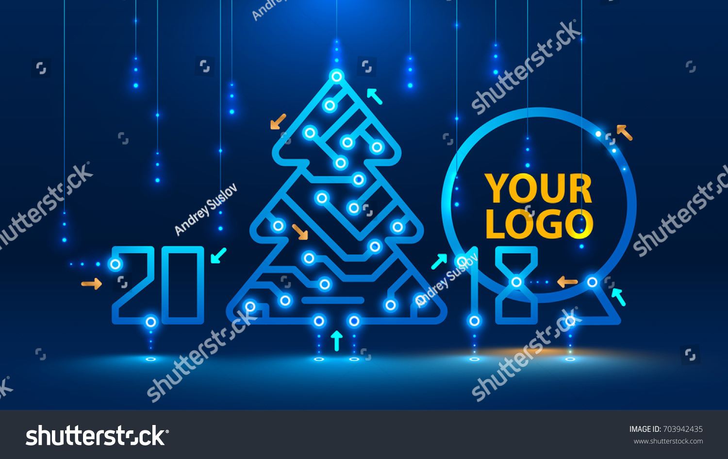 Template New Year Christmas Cards Style Stock Vector 703942435 ...