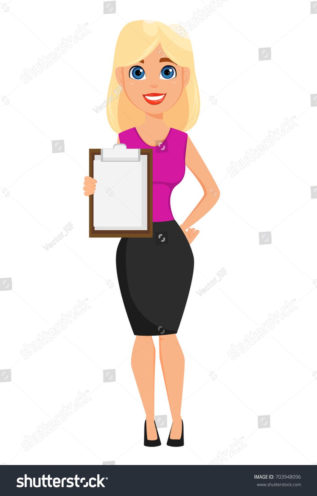 Blonde Character Inspiration: Business Woman Cartoon Character Cute Blonde Stock Vector