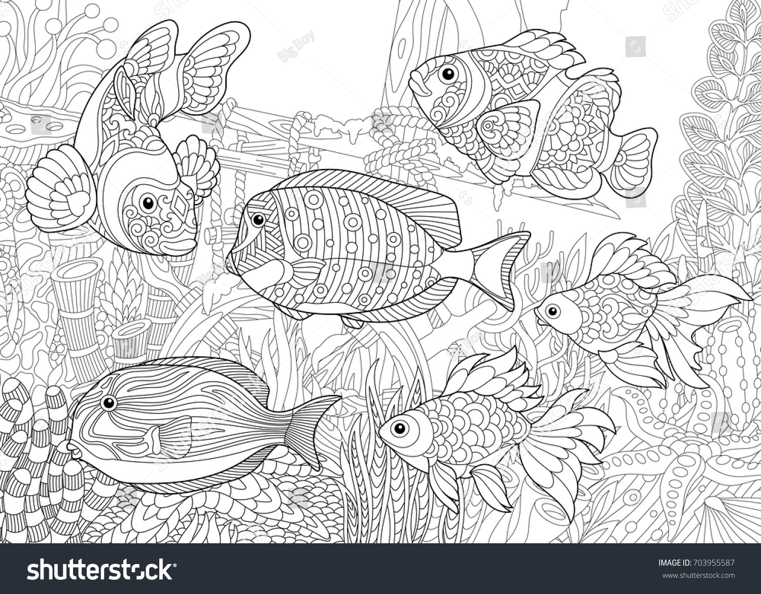 Coloring Page Underwater World Different Fish Stock Vector (Royalty ...
