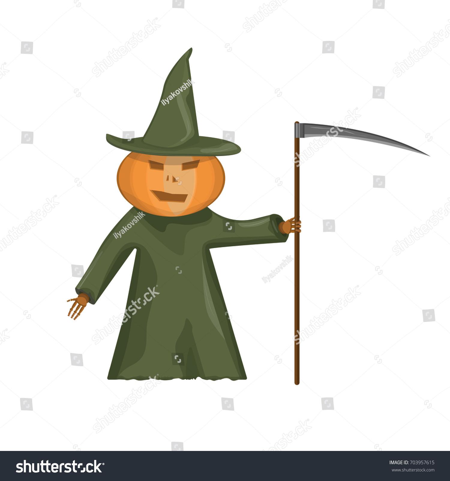 Happy Halloween Vector Illustration Pumpkin With Scythe