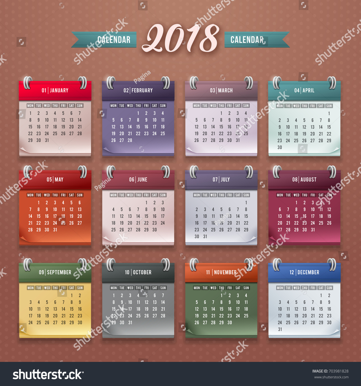 Design Wall Monthly Calendar 2018 Year Stock Vector Royalty Free