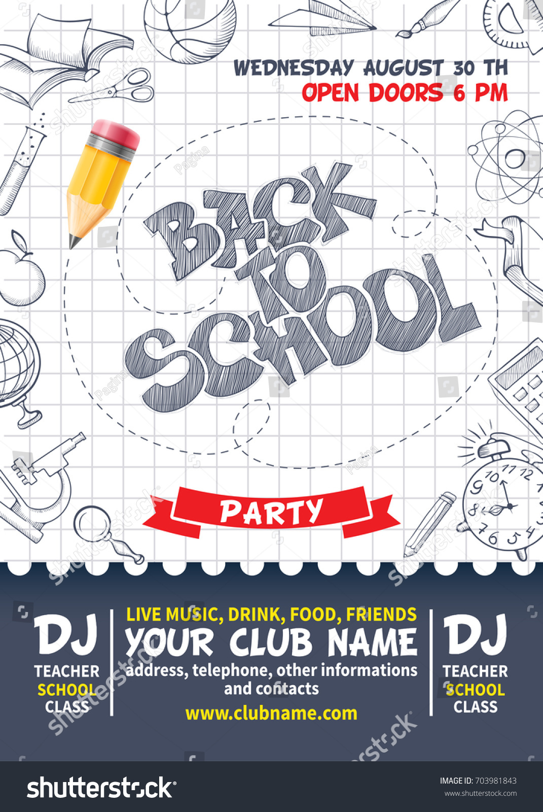 Back School Party Poster Template Design Stock Vector (Royalty Free ...