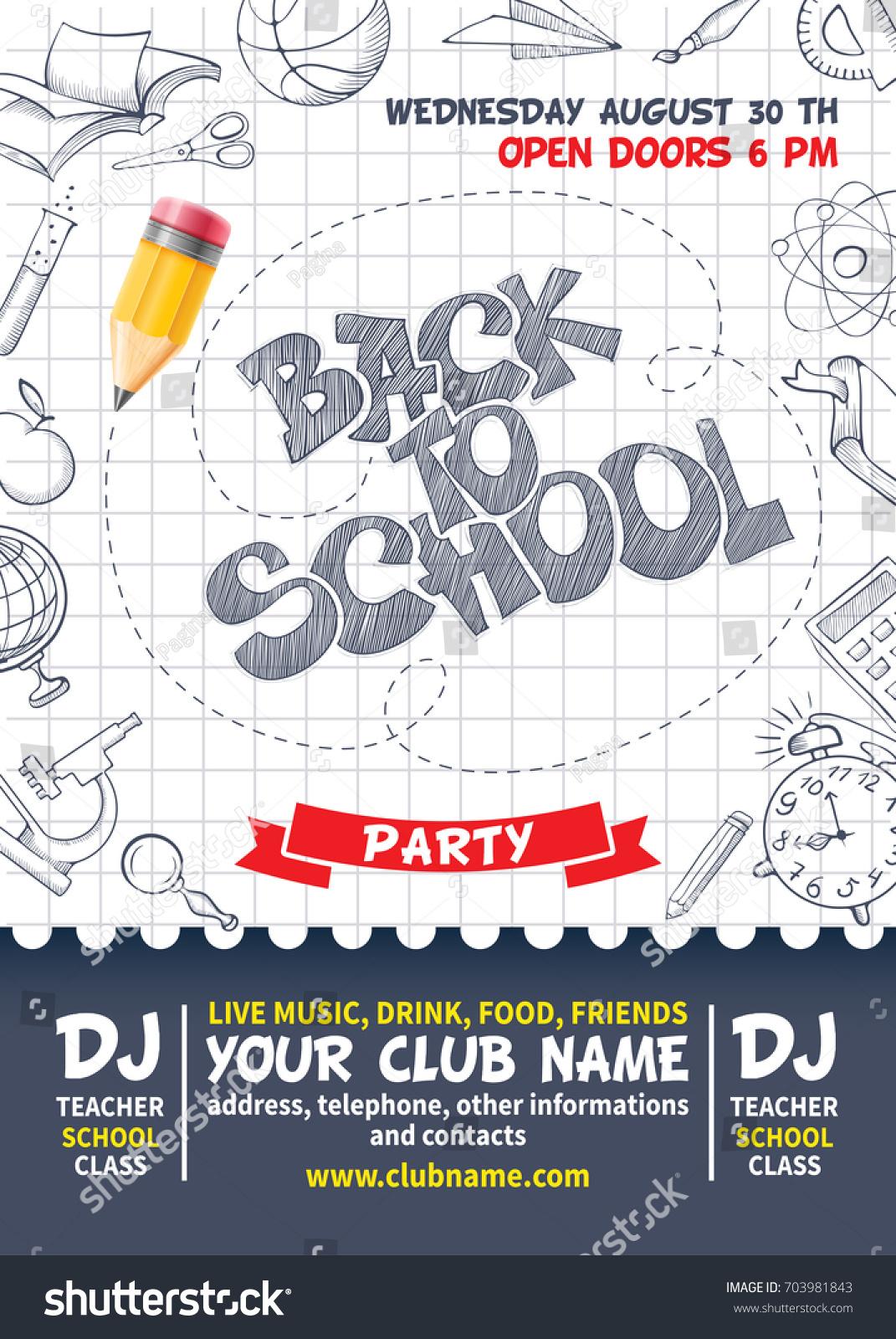 Back School Party Poster Template Design Image Vectorielle De Stock