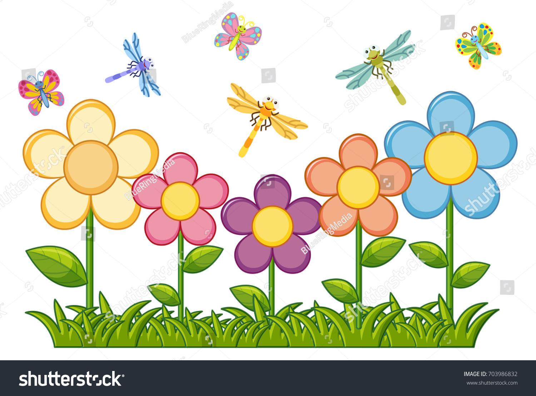 Butterflies Dragonflies Flower Garden Illustration Stock Vector
