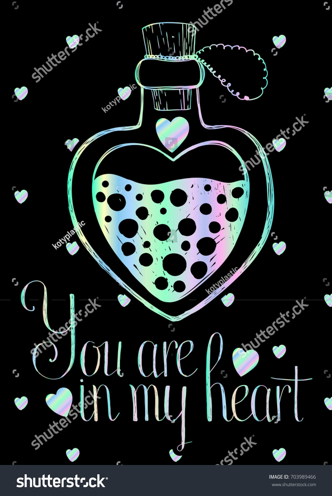 Lovely holographic greetings card on black stock vector 703989466 lovely holographic greetings card on black background with holographic magic heart shaped bottle vector template kristyandbryce Gallery