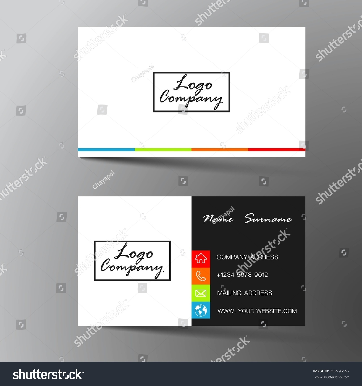 Modern Business Card Design Inspiration Abstractflat Stock Vector ...