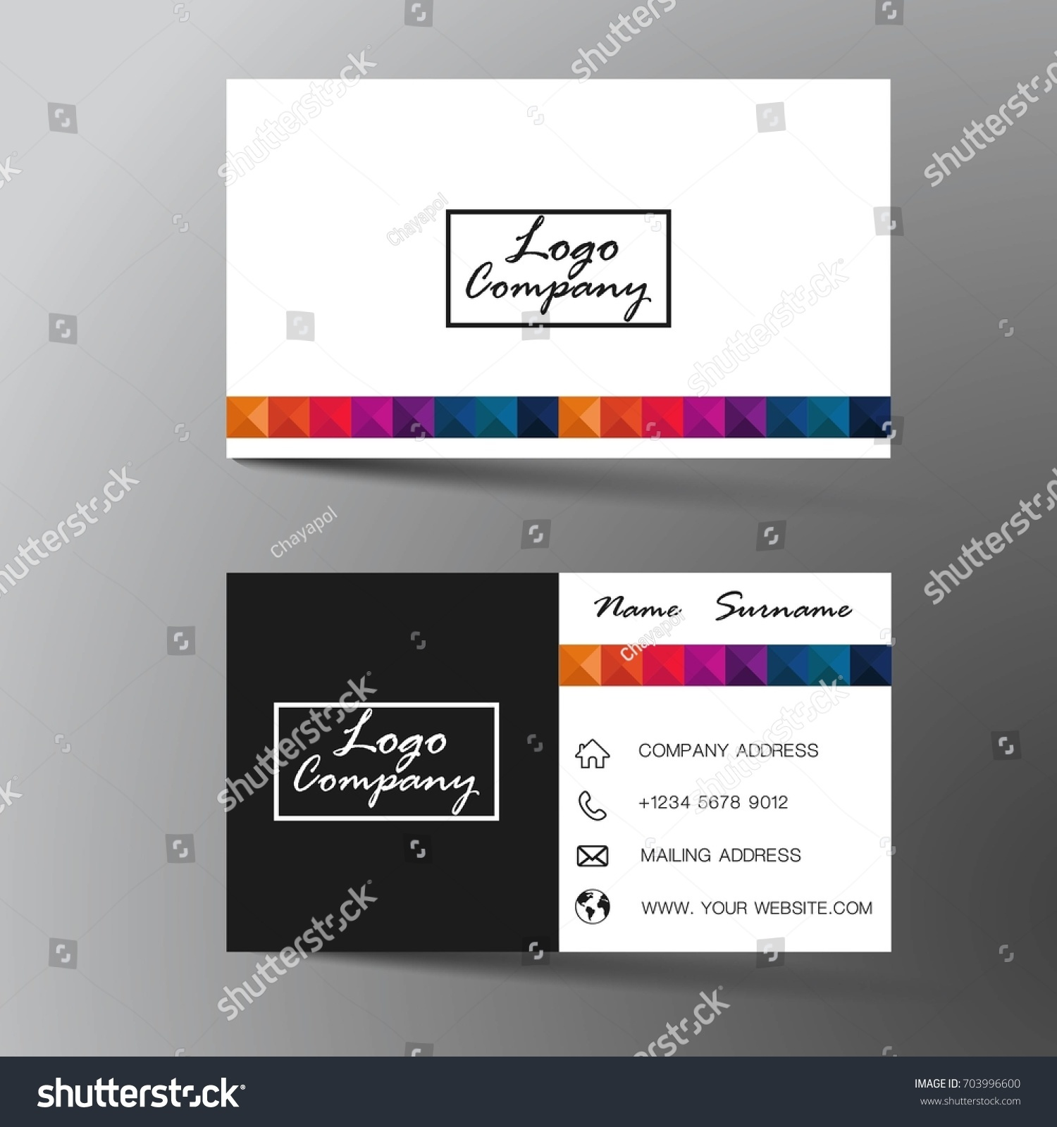 Modern Business Card Design Inspiration Abstractflat Stock Vector