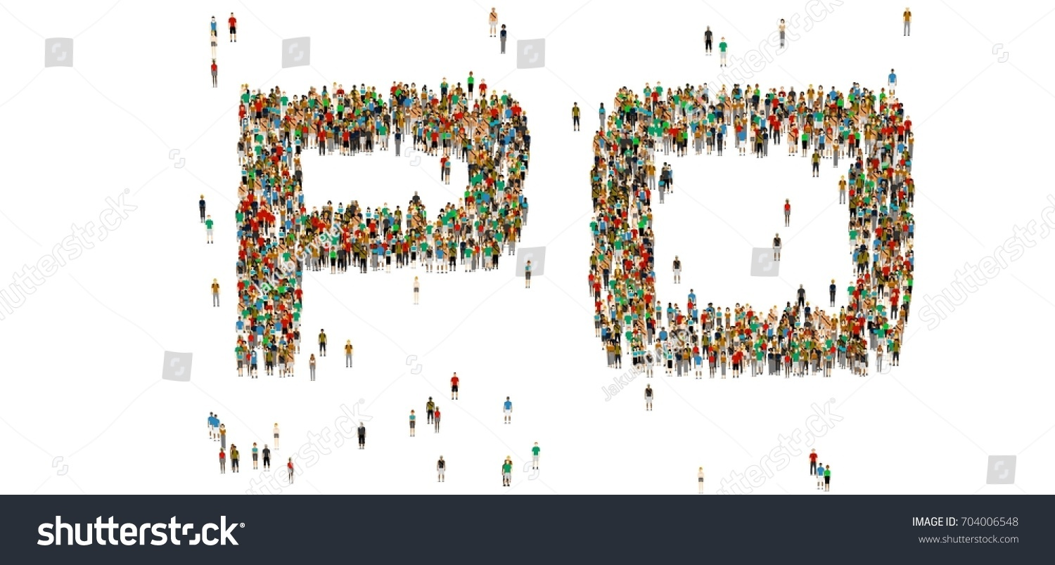 Po Word Large Crowd Of People Cartoon Humans On White Background